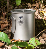 Keith monolayer titanium armor Adams titanium cup Mug cups can boil water outdoor folding titanium titanium cup lid