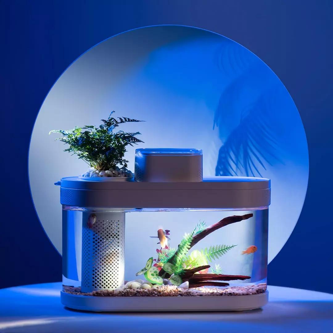 小米画法几何两栖生态懒人鱼缸家用客厅办公室智能自动循环水族箱【图2】
