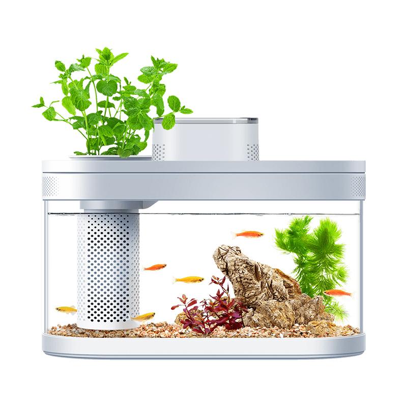 小米画法几何两栖生态懒人鱼缸家用客厅办公室智能自动循环水族箱【图5】