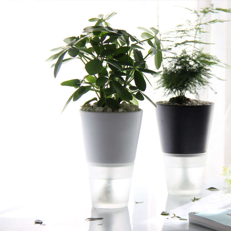 mamamoon自動吸水花盆 辦公室陶瓷免澆水培花瓶 宜家創意懶人盆栽