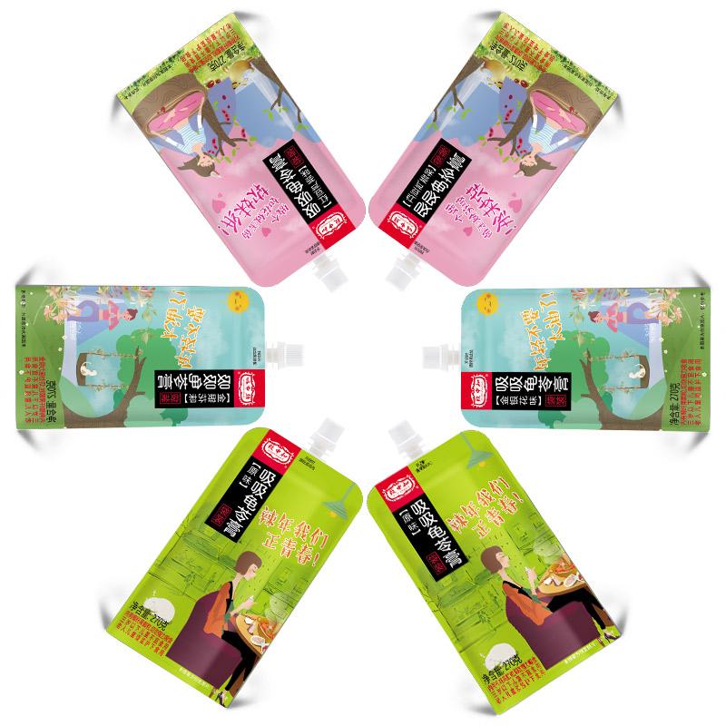 致中和可吸龟苓膏 原味红豆芦荟金银花果味型吸吸冻270gX12袋组合
