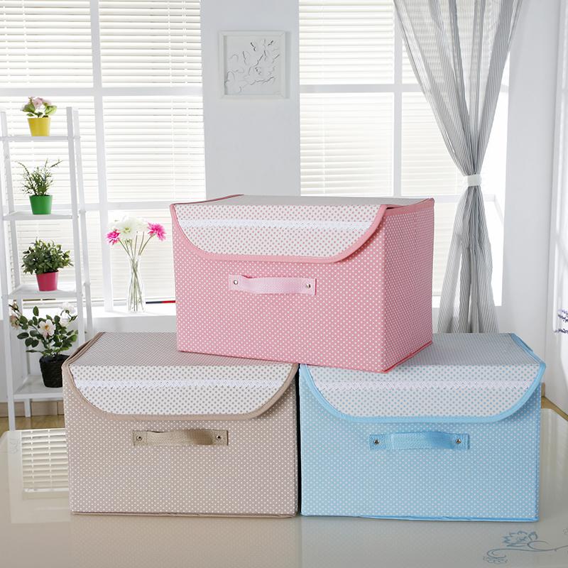 帆布摺疊收納箱帶蓋儲物箱衣物收納盒玩具整理箱大號收納袋