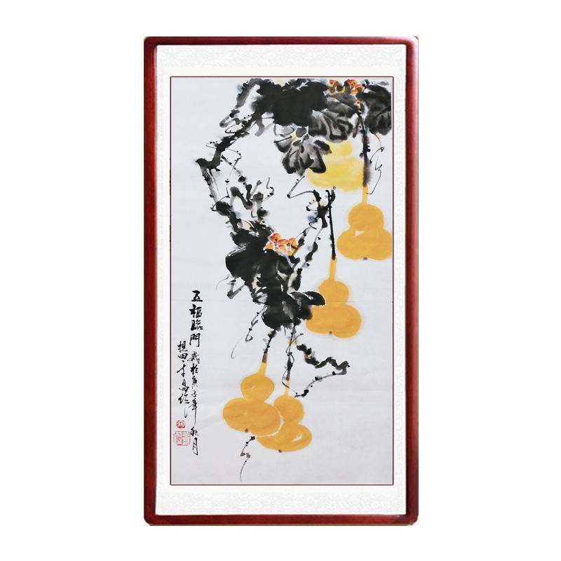 國畫葫蘆福祿圖五福臨門手繪真跡客廳裝飾畫寫意花鳥畫定制卷軸畫