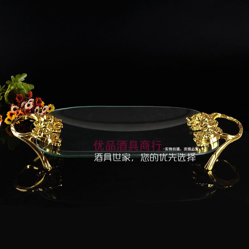 欧式水果盘创意玻璃大果盘时尚KTV果盘钢化玻璃果盘包邮