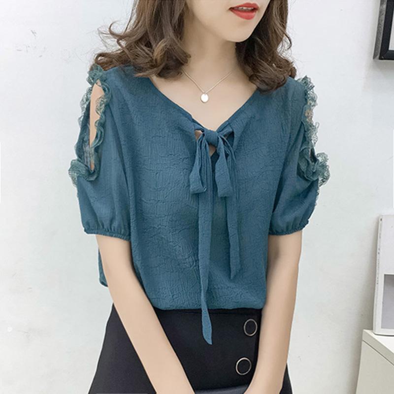 雪纺短袖女夏2021新款女装韩版时尚系带洋气娃娃衫气质露肩上衣女