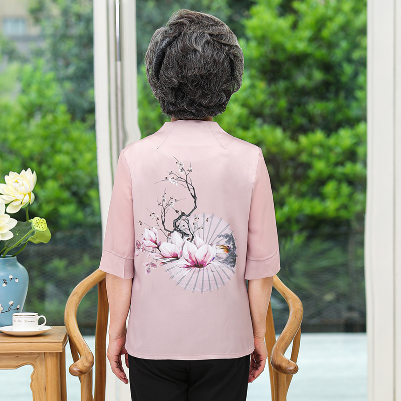 岁  太太衣服奶奶夏套装 70 中老年人春装女衬衫老人唐装妈妈七分袖 60