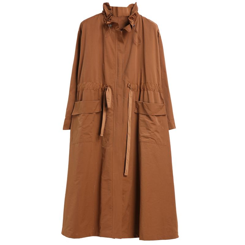秋装新款宽松中长款荷叶领拉链风衣女装大码休闲显瘦外套 2018 咫尺