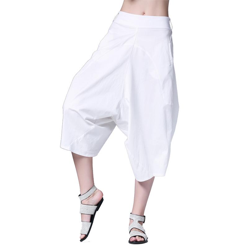 咫尺2019夏装新款女装显瘦白色七分阔腿裤休闲裤大码宽松哈伦裤子