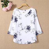 National Wind literary wild spring loose linen cotton blouse embroidered women's embroidery was thin T-shirt shirt