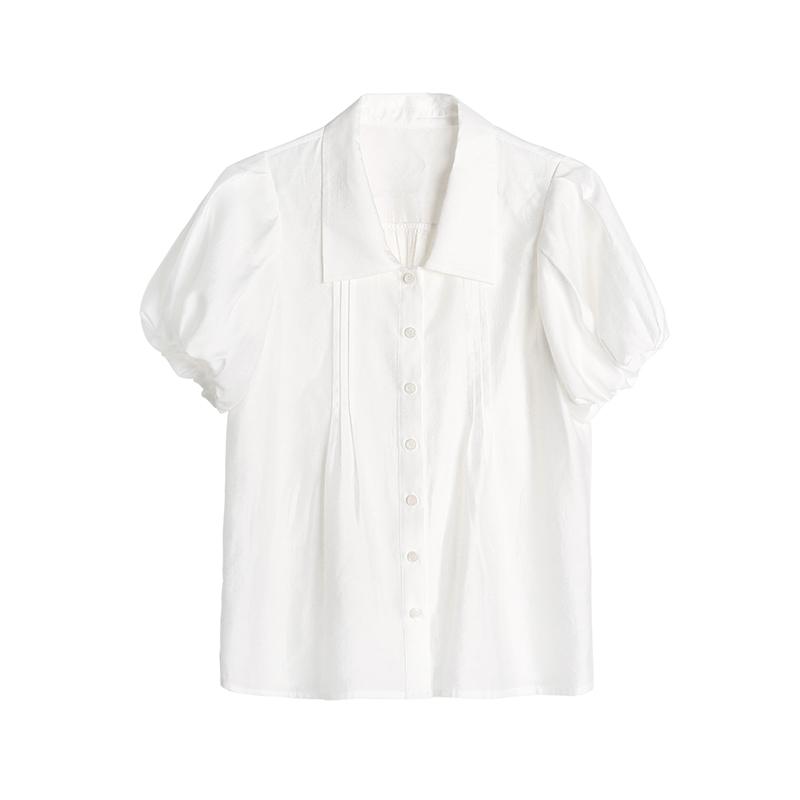 天丝泡泡袖小衫  天丝混纺翻领减龄女 全棉工装半裙 K 姐自制