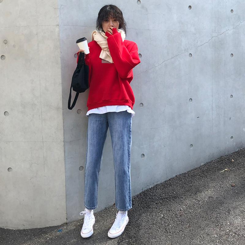 孕妇牛仔裤2019春装新款宽松直筒外穿裤子春秋装