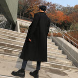 Autumn and winter woolen coat men's long knee-length Korean style trend British wind woolen men's ultra-long windbreaker thickened in winter