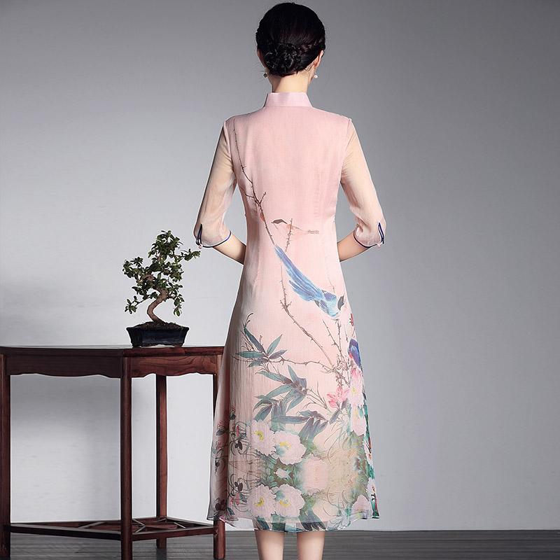 玺玥2019春夏新款中国风真丝中长款旗袍 桑蚕丝改良文艺女连衣裙