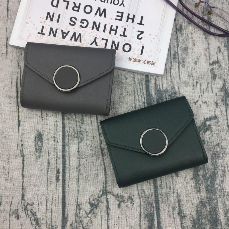 新款韩版搭扣简约短款钱包女士皮夹迷你小钱夹学生零钱包卡包