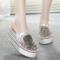 女士凉半拖鞋内增高夏新款水钻串珠女鞋子网纱坡跟包头厚底休闲鞋