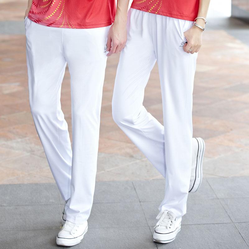 夏季白色運動褲女款 長褲佳木斯體操廣場舞南韓絲鬆緊直筒褲男士