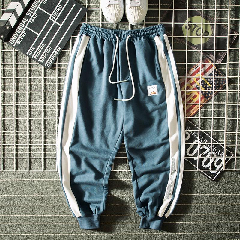 欧美街头嘻哈宽松撞色字母印花串标休闲裤潮男哈伦运动束脚卫裤子