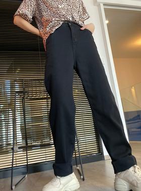 175高个子加长女裤牛仔裤新款韩国春夏直筒裤chic米色裤高腰宽松