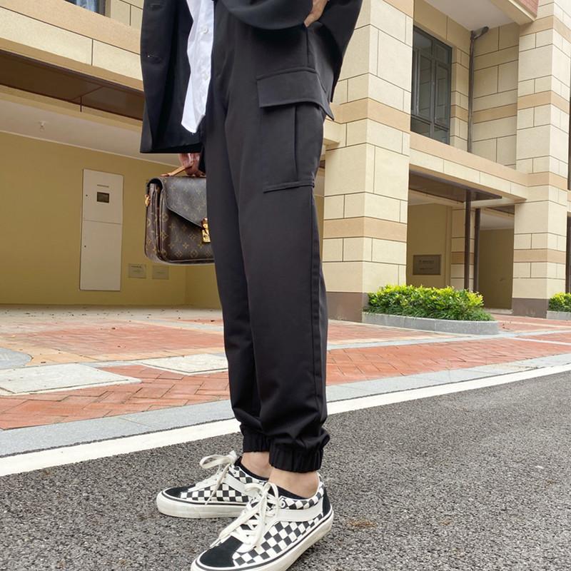 高个子190黑色网红加长工装西裤男潮牌ins超火束脚宽松休闲裤子