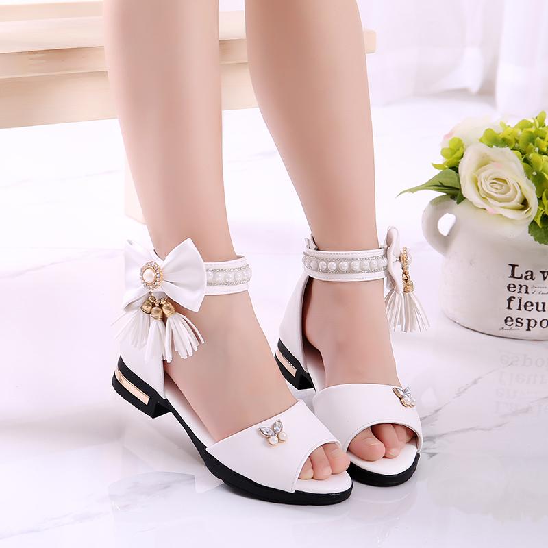 女童凉鞋2019夏季韩版公主鞋中大童学生罗马鞋儿童凉鞋黑色舞蹈鞋