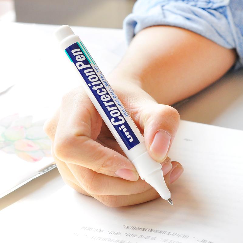 包邮 日本uni三菱CLP300高光笔 钢头修正笔/修正液/涂改液 CLP-300/80建筑手绘白色高光笔学生笔式钢头修正液