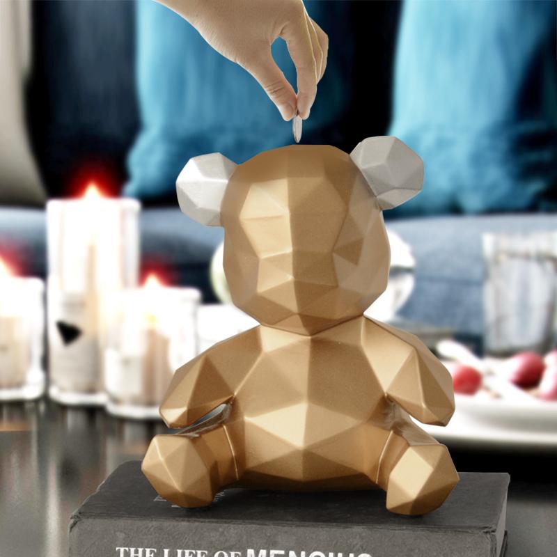 现代北欧熊仔存钱罐储蓄罐小熊硬钱储存罐创意儿童生日礼物 ins