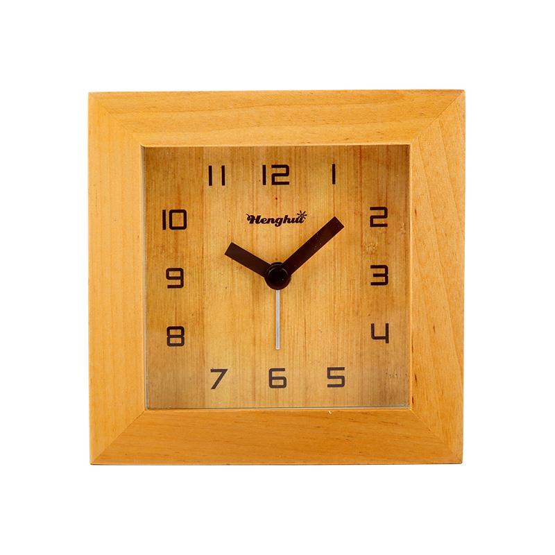 個性北歐簡約鬧鐘靜音床頭表實木鬧錶創意時尚學生檯鐘兒童夜光錶