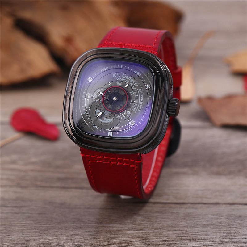 Gadgets K s 复古植糅牛皮手表方形大表盘时尚潮流镂女真皮带表