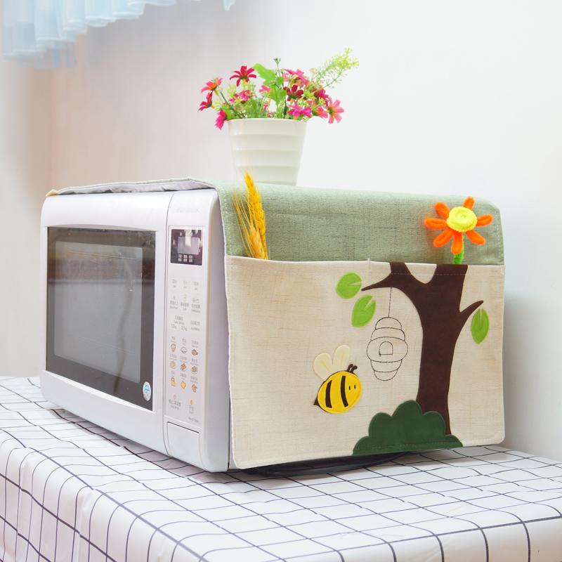微波炉罩电烤箱罩防尘罩布艺格兰仕美的海尔松下盖巾盖布通用欧式【图3】
