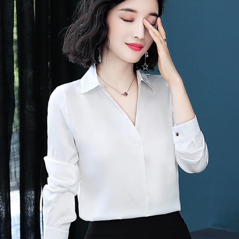 女式衬衫洋气时尚长袖大码宽松V领性感气质彩色秋真丝小衫女高档