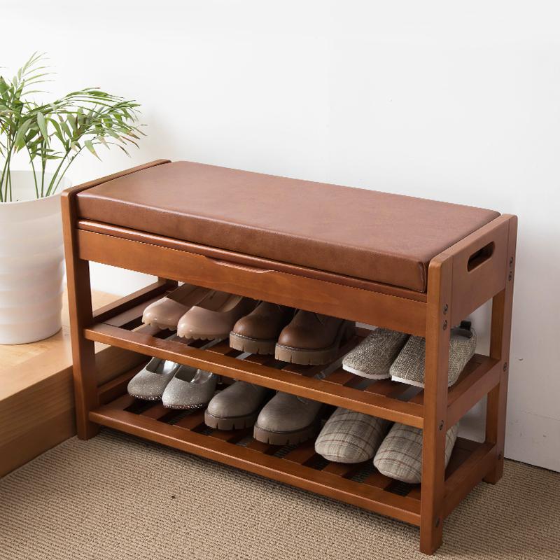 家逸可坐式换鞋凳鞋柜实木门口家用现代简约穿鞋凳子收纳穿鞋凳