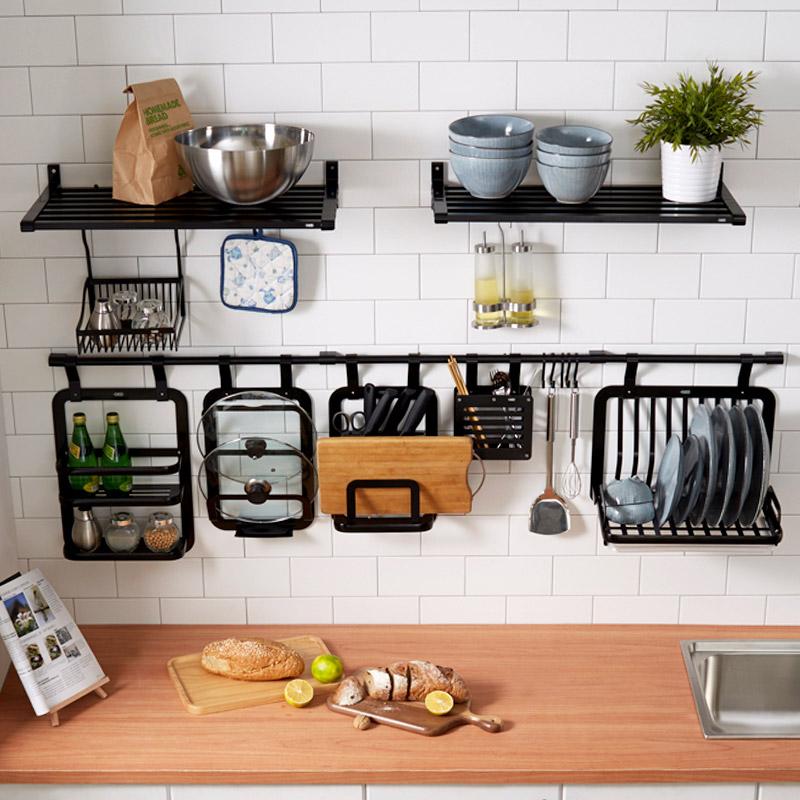 免打孔厨房置物架壁挂黑色太空铝厨房挂杆锅盖架调味料架厨房挂件