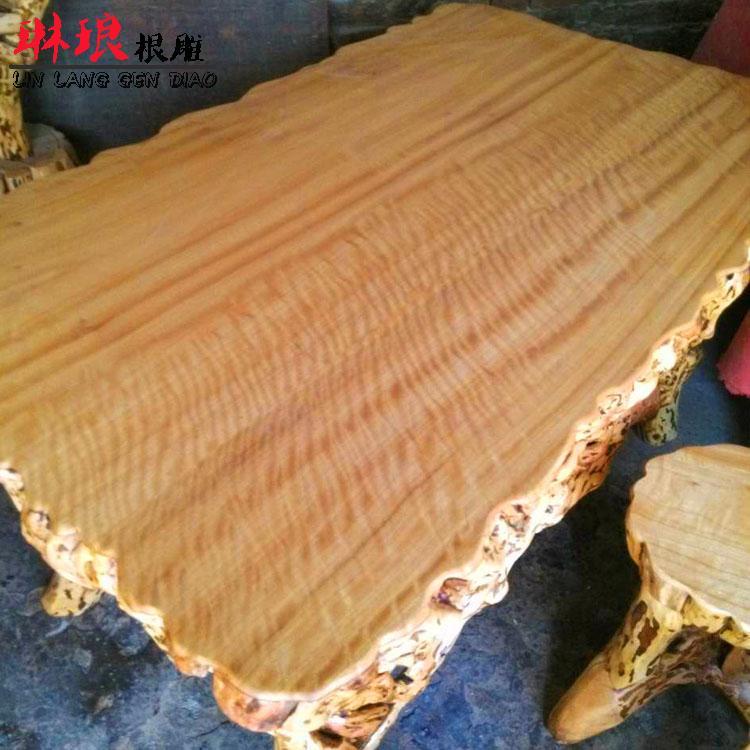 根雕茶桌茶几 实木四方家用餐桌 铺面装饰茶桌子古典田园风精品