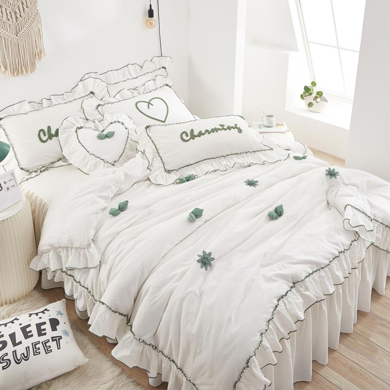 韓版四件套純棉全棉白色床單被套少女心公主風床裙小清新床上用品
