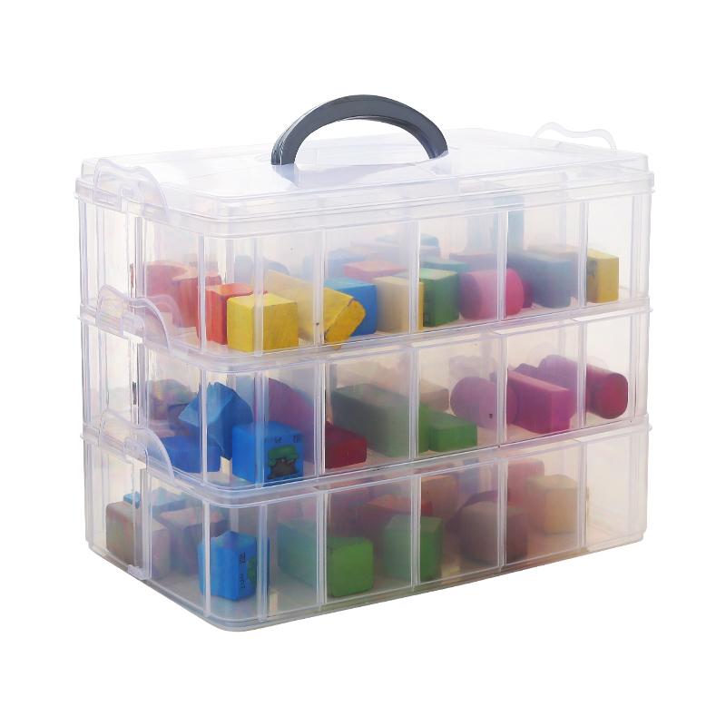 大号多层乐高玩具车积木塑料透明收纳箱桌面整理首饰品指甲油盒子