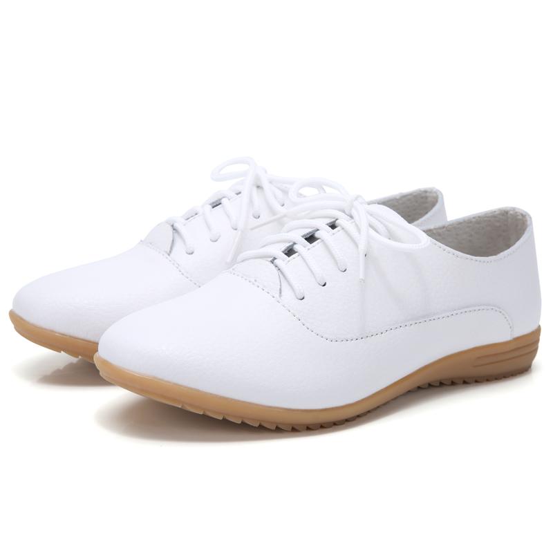 2020春季新款牛筋女鞋真皮小白鞋软底小皮鞋休闲鞋平底百搭女单鞋主图