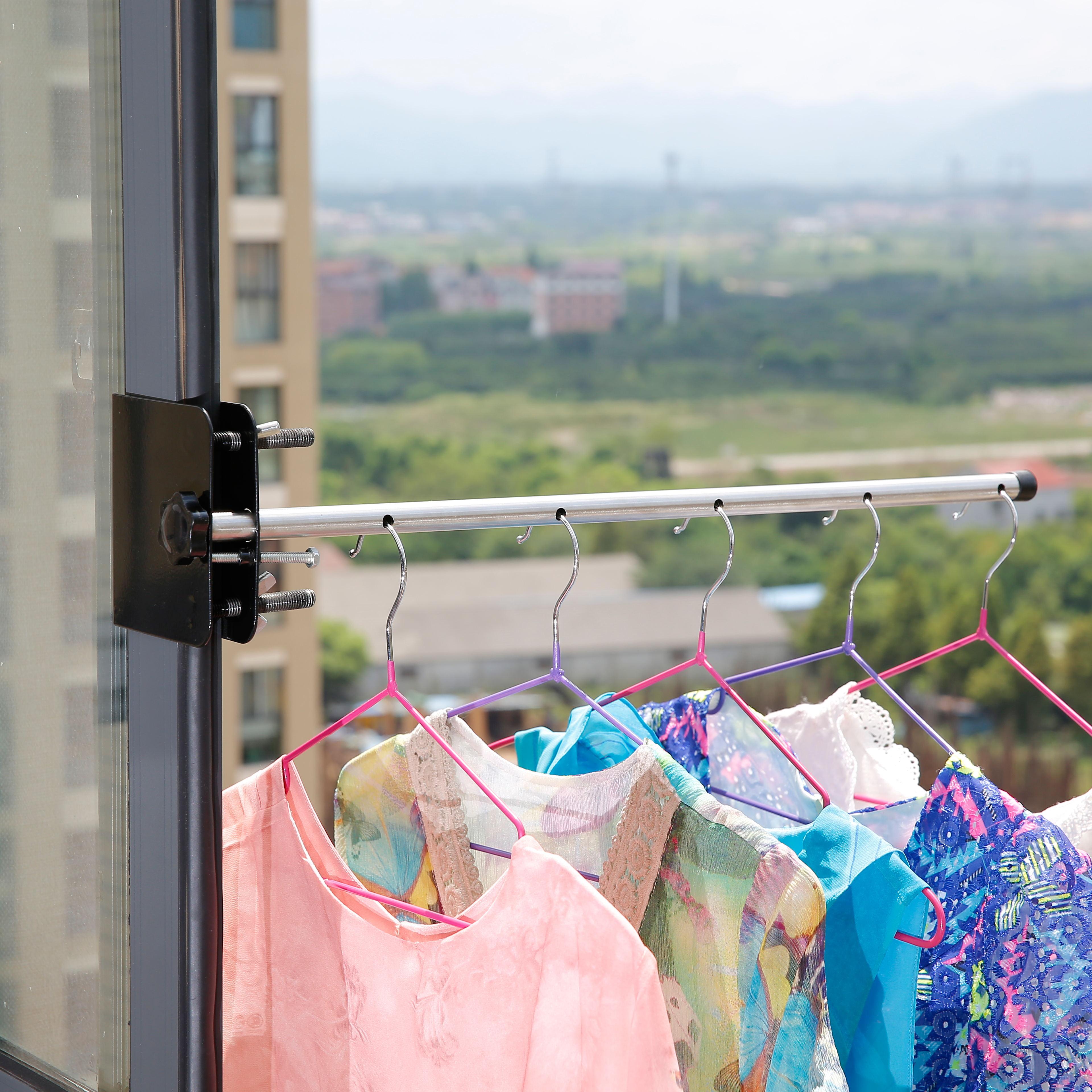 窗台晾衣架 挂衣杆架宿舍挂衣架  阳台窗户衣架室内晒衣架子