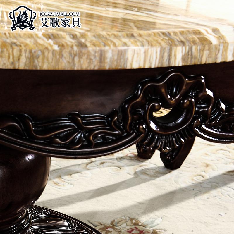 新品艾歌 全实木餐厅美式餐桌 圆形餐桌吃饭桌子一桌六椅四椅M08