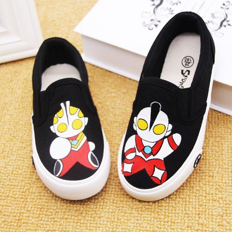 [淘寶網] 幼兒園童鞋室內春季帆布鞋黑鞋兒童黑色布鞋奧特曼手繪鞋春季童鞋