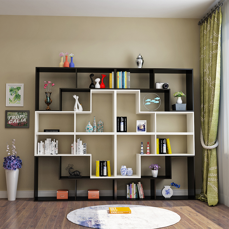 简易书架自由组合置物架卧室落地格子柜客厅隔断创意书柜酒柜展柜