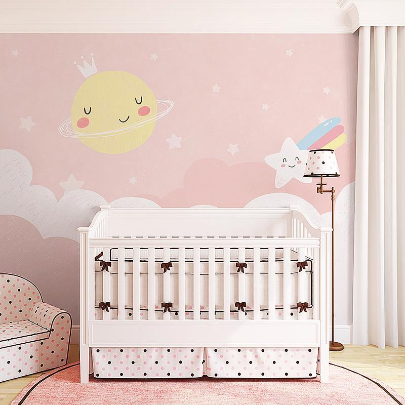ins粉色女孩儿童房壁纸 儿童卧室温馨墙纸卡通背景墙壁画公主房