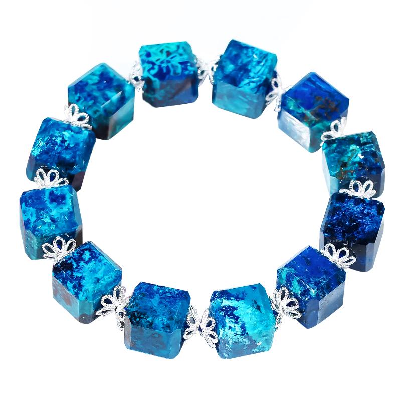 灵石之约天然水晶宝石硅凤凰石蓝铜矿手链吊坠硅矽孔雀宝石饰品女