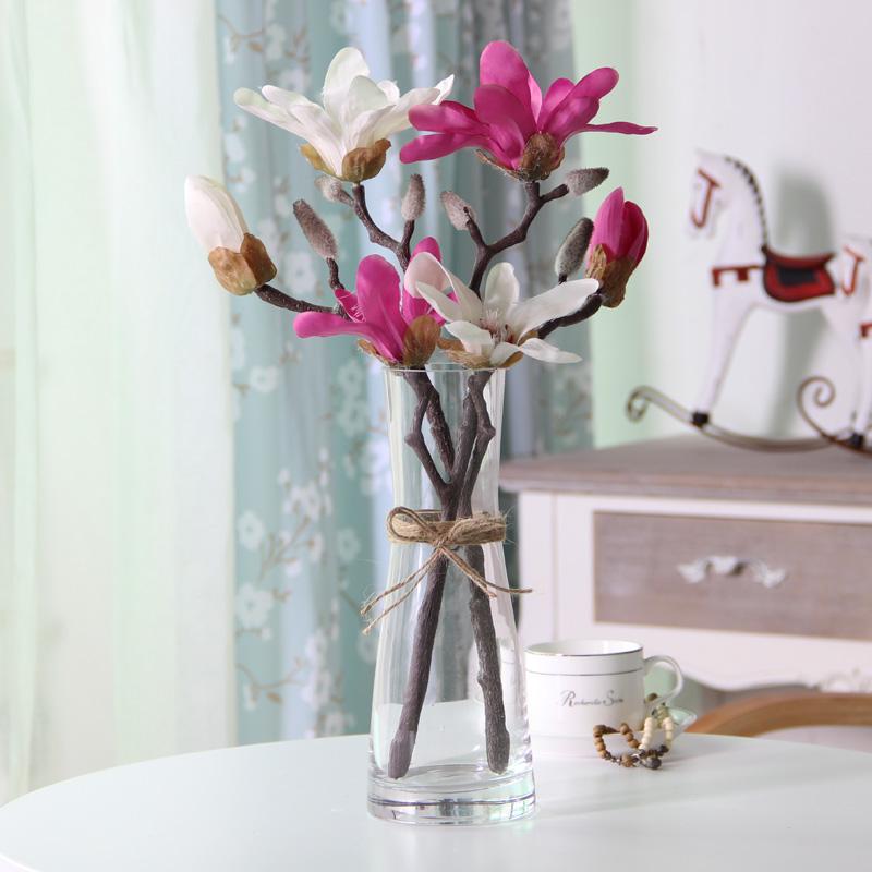 现代简欧玻璃透明麻绳花瓶仿真花艺套装假花时尚客厅餐桌装饰摆设