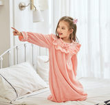 Cheap girls fall and winter long double-sided coral flannel nightgown does not fade lint-free big virgin girls tracksuit