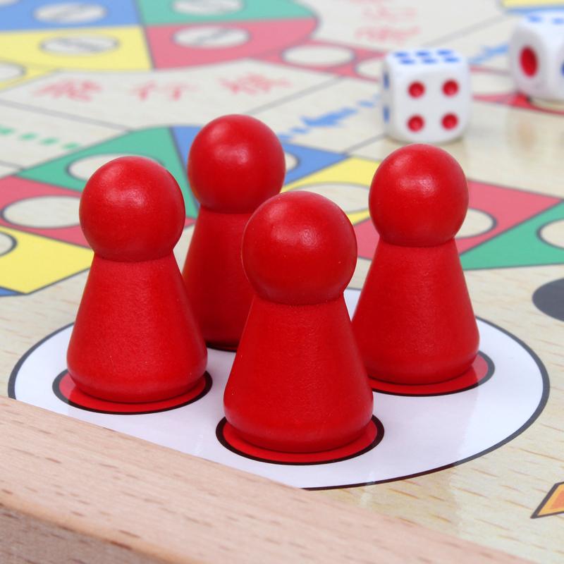 中国实木象棋飞行棋套装 儿童益智木质磁性双面棋盘桌面游戏玩具