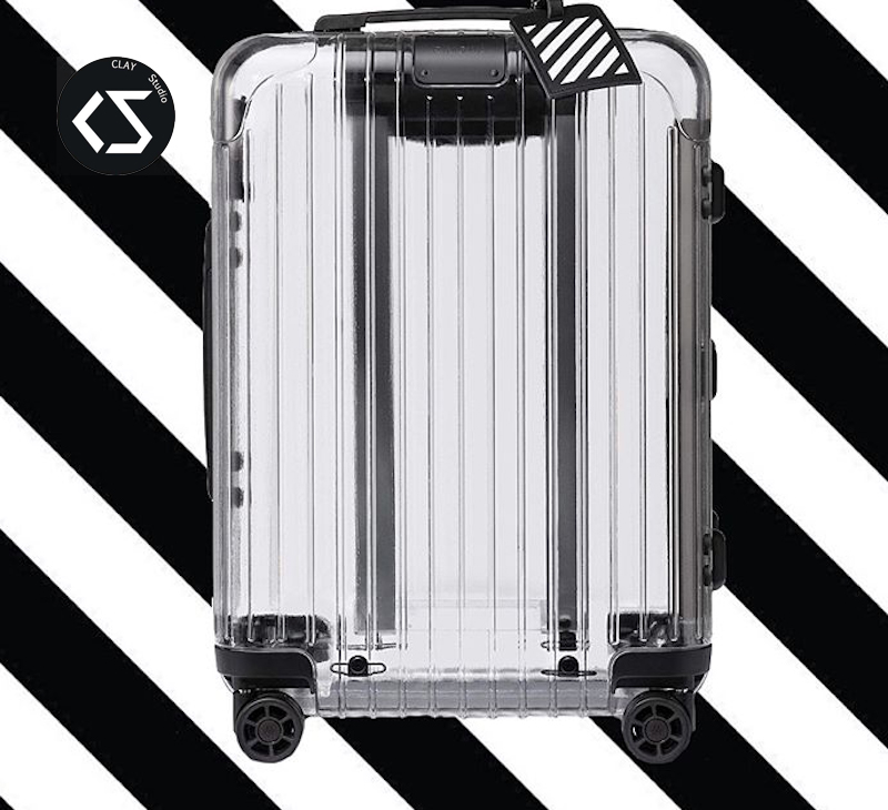 旅行拉杆箱 登机箱 行李箱 日默瓦联名透明 OW RIMOWA WHITE OFF