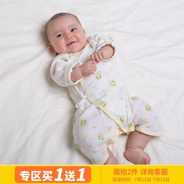 黃色小鴨哈皮蛙連體衣純棉紗布蝴蝶哈衣嬰兒和尚服春秋夏510011