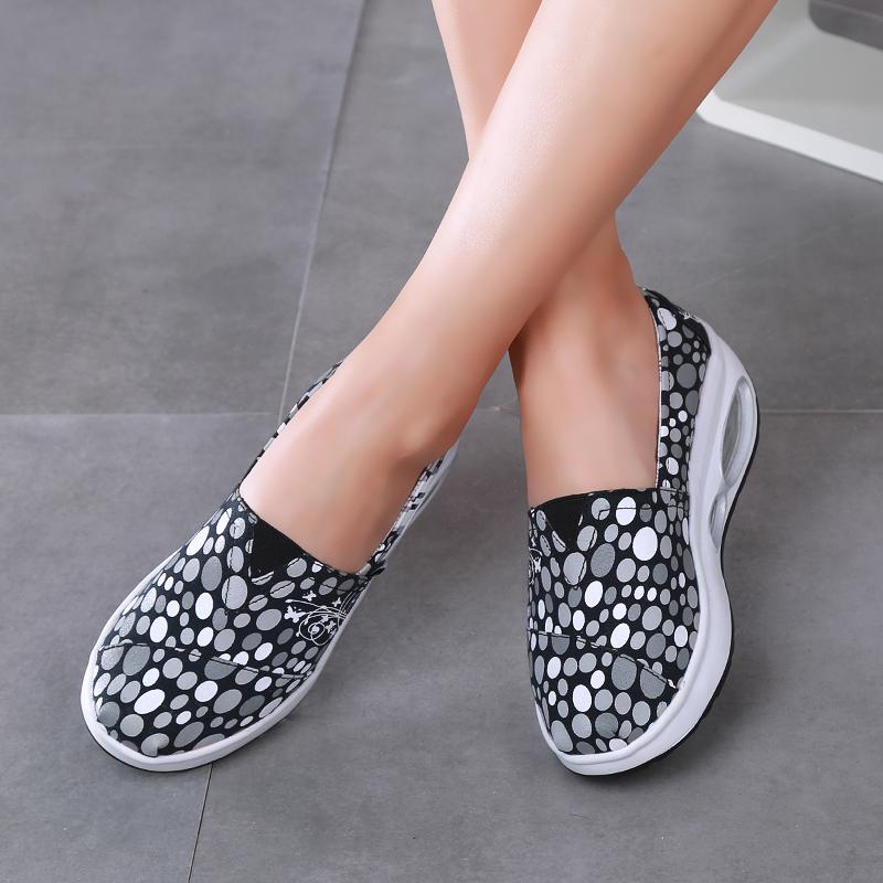 咪呢咔韩版夏厚底帆布鞋女鞋摇摇鞋女坡跟休闲跑步鞋气垫单鞋布鞋