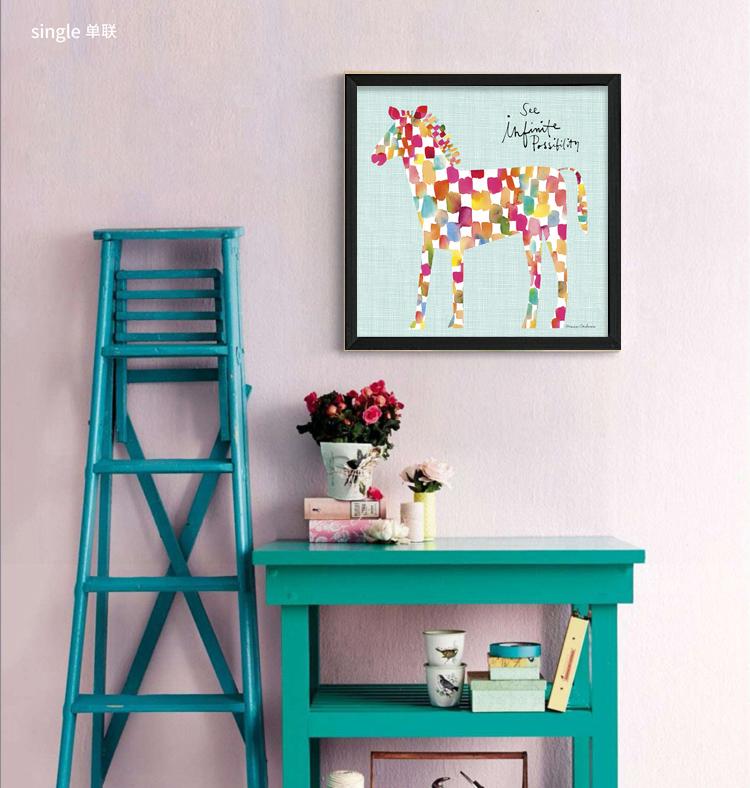 现代客厅餐厅卧室装饰画幼儿园挂画儿童房卡通创意插画组合墙壁画