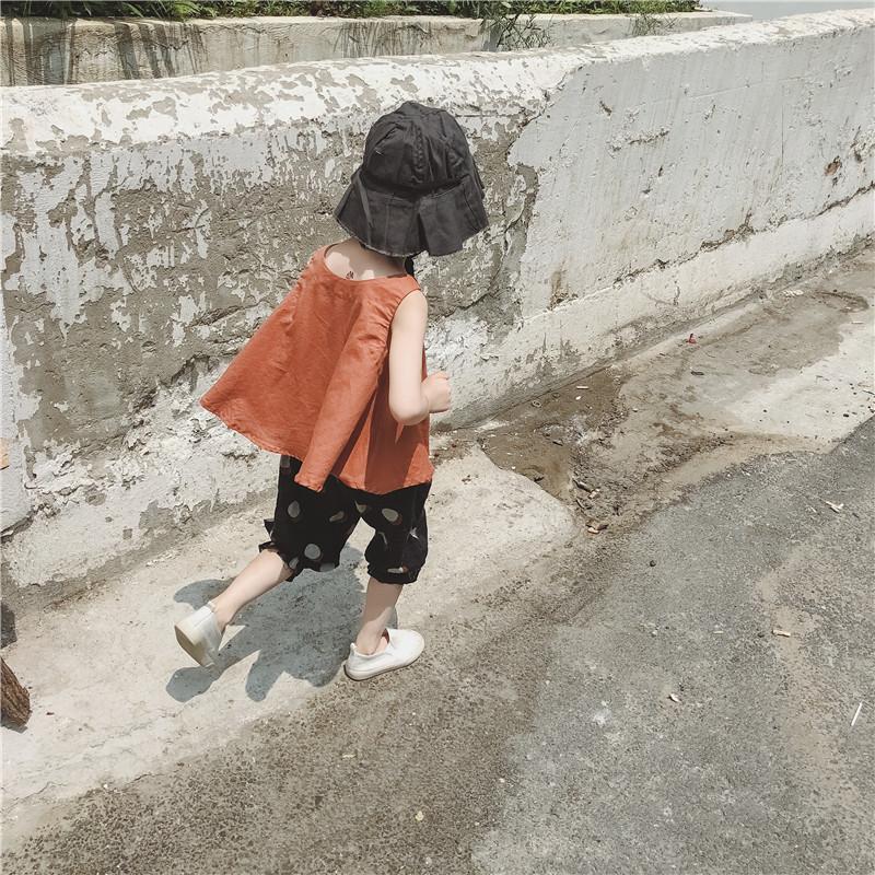 韩国新款夏天女童装宝宝儿童亚麻背心吊带+防蚊裤灯笼裤两件套装